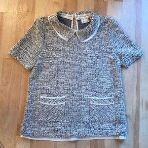 Anthropologie 9-h15 stcl tweed knit blouse top